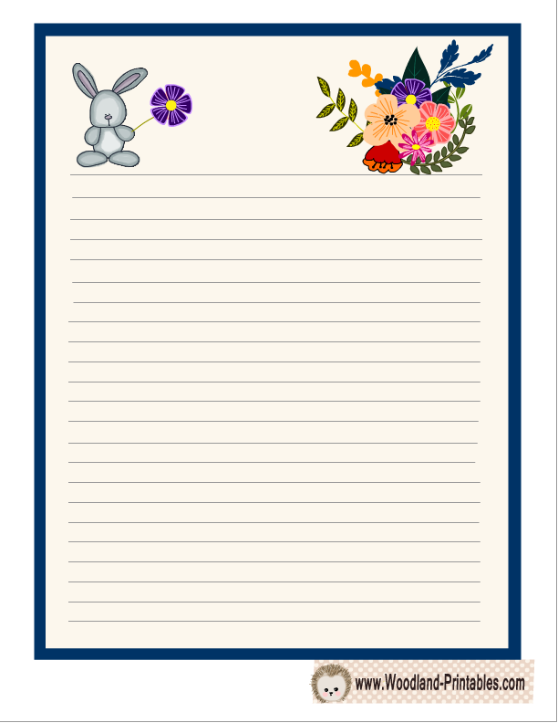 Cute Writing Paper with Rabbit and Flowers | Free ...