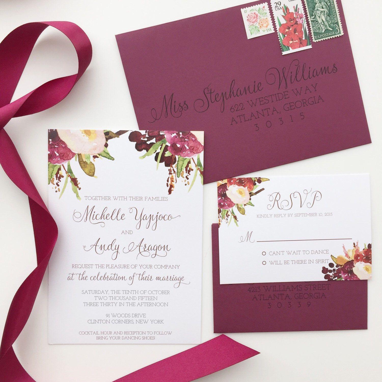 Marsala Wedding Invitation Burgundy Floral Invite Fall Wedding ...