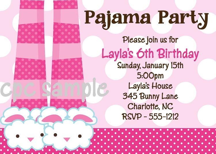 kids pajama party | home kids party invitations pajama party ...