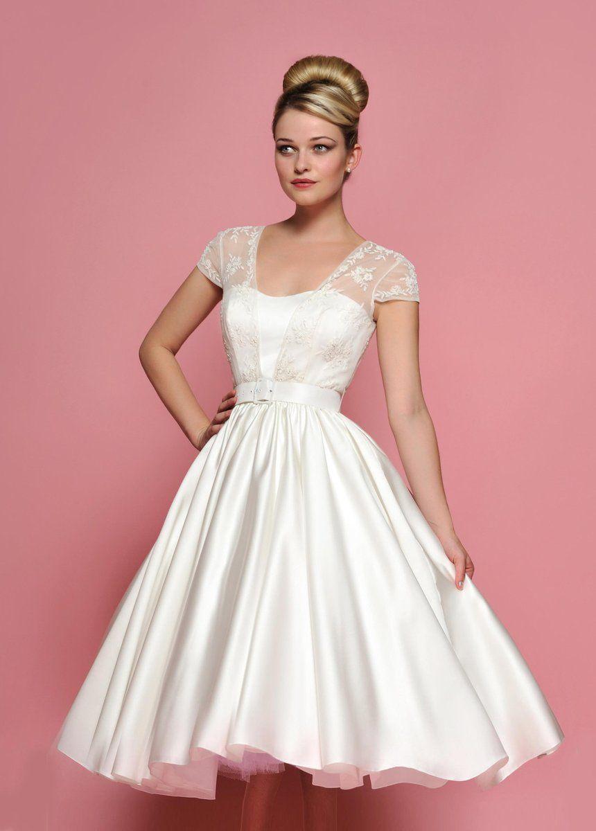 50s wedding dress lace  Retro s s Tea length Cap Sleeves Lace Wedding Dress  Wedding