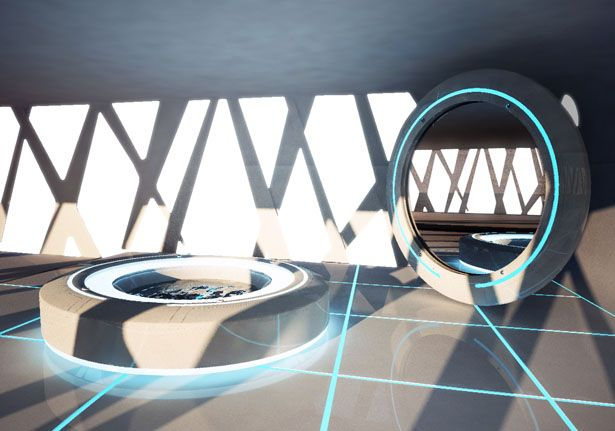 tron inspired home interiors from dupont - futuristic bathroom spa