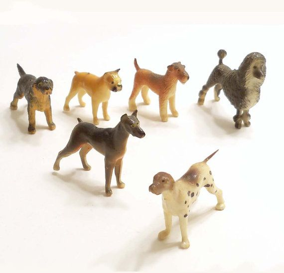 Set Of 6 Little Plastic Dog Figurines Breeds Standard Poodle