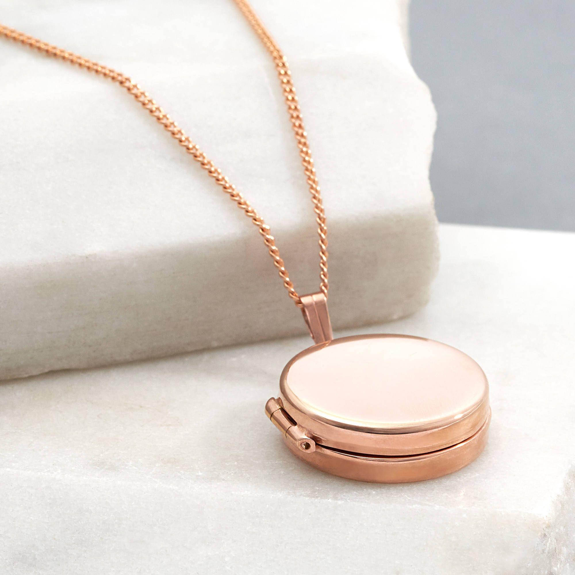 0bbb8fc4fdcc4 Round Drum Locket in Rose Gold Vermeil   Necklaces