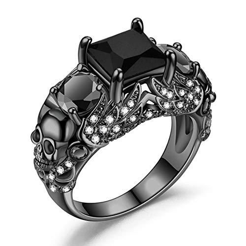 FLIUAOL Gothic Rings/Black Skull Ring/Punk Rings/Ruby Crystal Ring/Purple Crystal Ring/Skull Rings for Women Black Skull Design, Personalized Style, The Design Is Unique To Show Your Natura Charm,these Rings Are A Good Choice.this Is The Perfect Wedding Band To Symbolize Your Love. Made of High Quality Material, No Nickel Lead, Health and Anti-allergy.The Main Stone Is Made of High Quality Zircon, Shining and Charming. Ring Weight: 8 g / Main Stone:8x8mm Suitable for Various Occasions, Like Dail