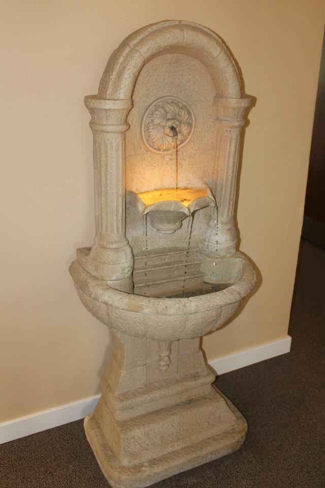 Fountains in wedding venue lobby