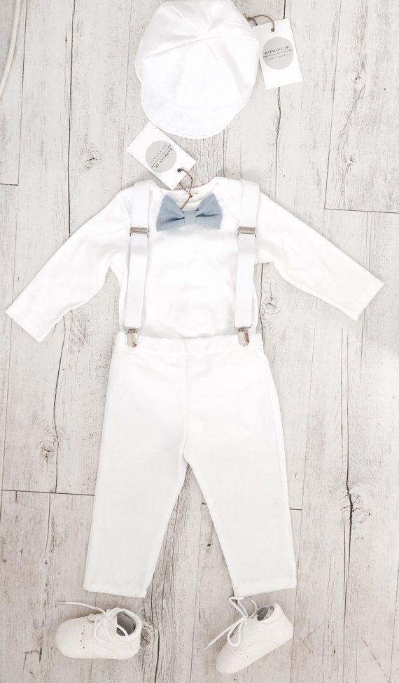 White Cotton Boys Christening Baptism Dedication Suspenders Short Set Hat New