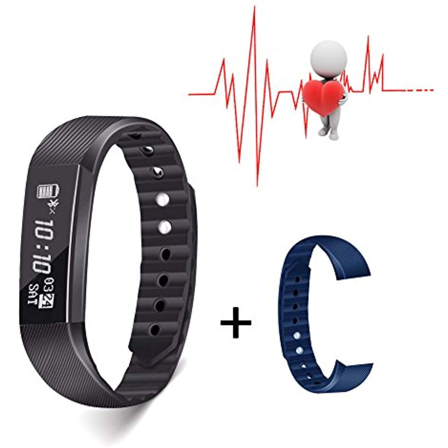 Slicemall Fitness Tracker with Heart Rate Monitor Watch