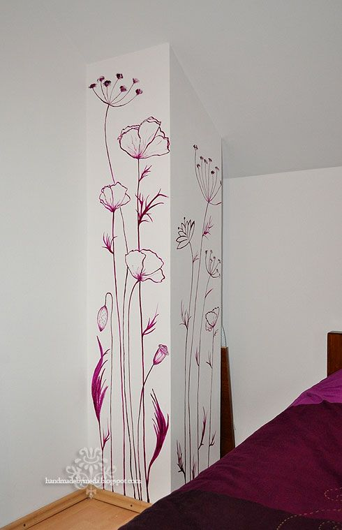 wall painting design. hand painted flowers on walls  Wall Painting Pictura pe perete Handmade by