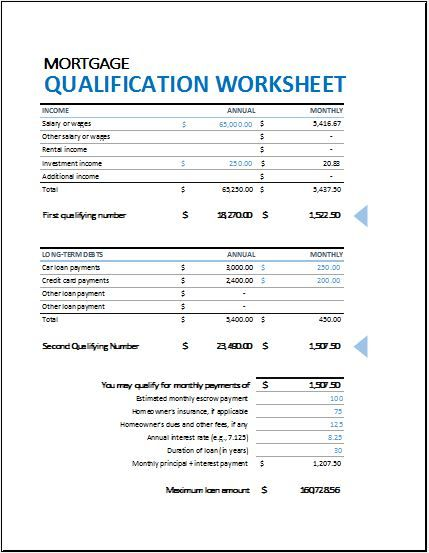 Mortgage Qualification Worksheet DOWNLOAD at http://www.bizworksheets.com/mortgage-qualification-worksheet/