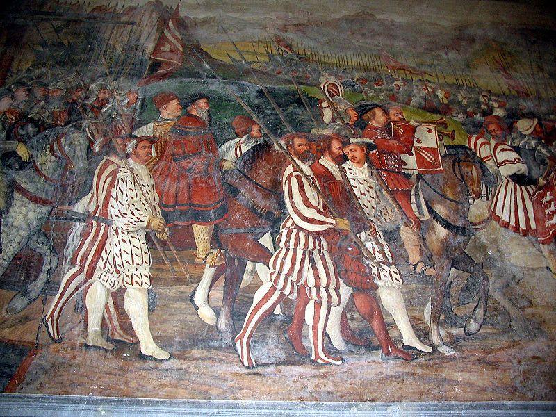 Affreschi del Castello di Malpaga, di Bartolomeo Colleoni. Cristiano I di Danimarca visita il Colleoni. Particolare: Immagine di Cristiano I e del Colleoni. Opera attribuita al Romanino (1467