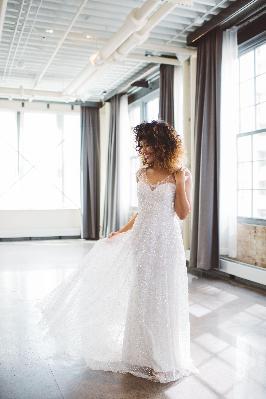 Anna Campbell Bridal Sydney Dress Sheer Sequinend Tulle Vintage Inspired Sparkly Wedding Dress Bridal Gowns Vintage Wedding Dresses Sparkly Wedding Dress