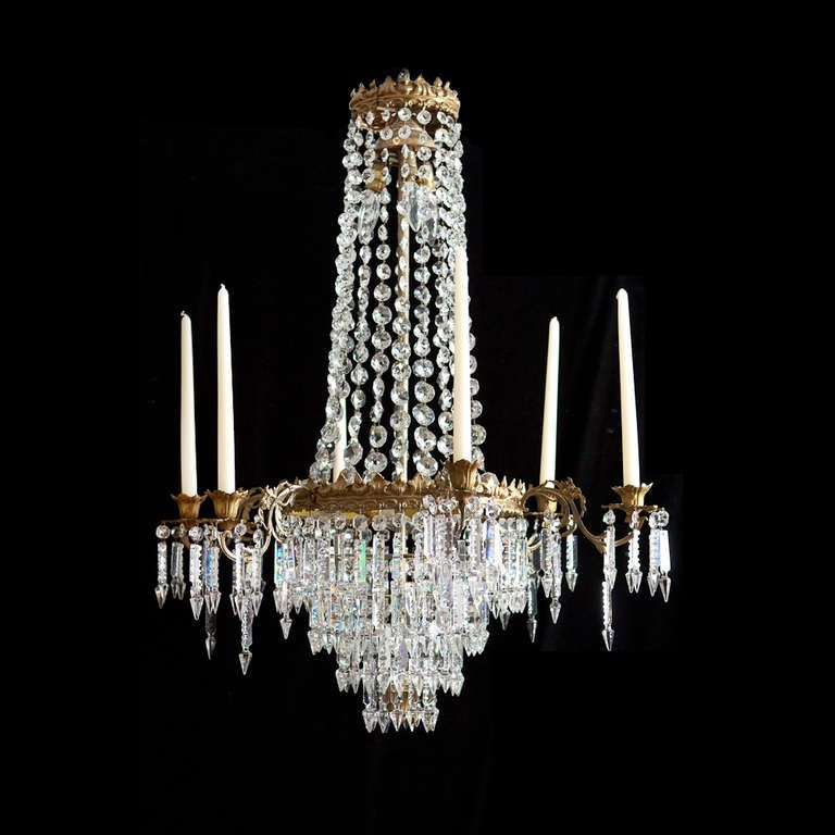 Swedish 6 light chandelier with crystal prisms c1880 chandeliers swedish 6 light chandelier with crystal prisms c1880 french revival mozeypictures Gallery