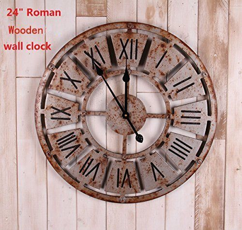 24 Handmade Oversized 3d Retro Rustic Decorative Luxury Art Big Wooden Vintage Large Wall Clock On The Wall For Gift 24 58 58cm Roman Numerals Rusted Iron Large Vintage Wall Clocks Large Wooden