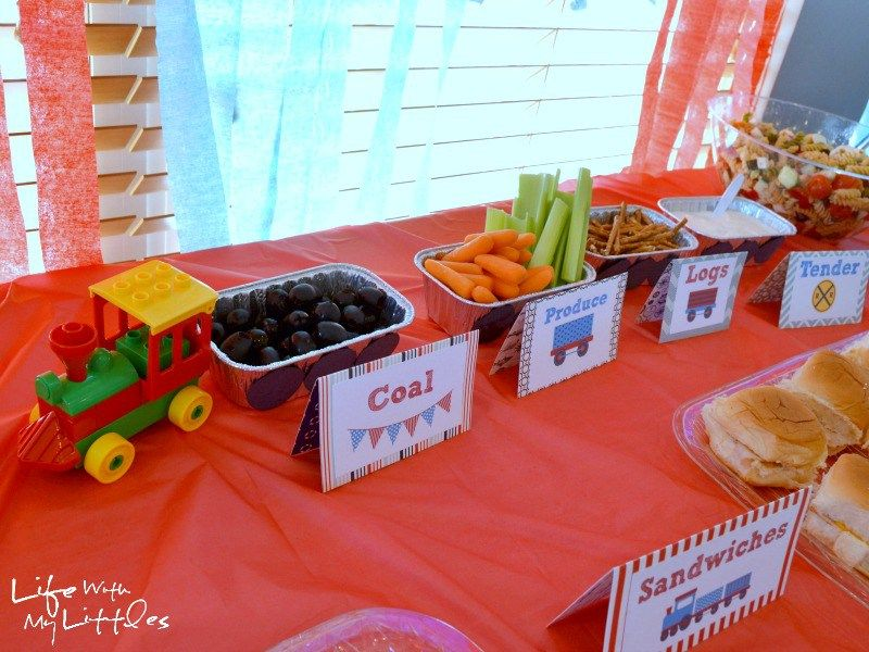 Little Js Train Birthday Party Food ideas Keepsakes and Favors