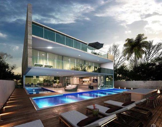 Arquiteto cria mansão com salas cercadas por piscinas