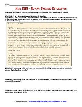 American Revolution Mini Dbq Worksheet Dbq Social Studies Middle School American Revolution
