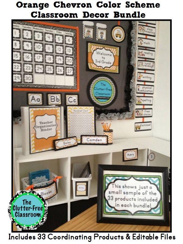 Orange Classroom Decor ~ Orange chevron classroom decor editable binder