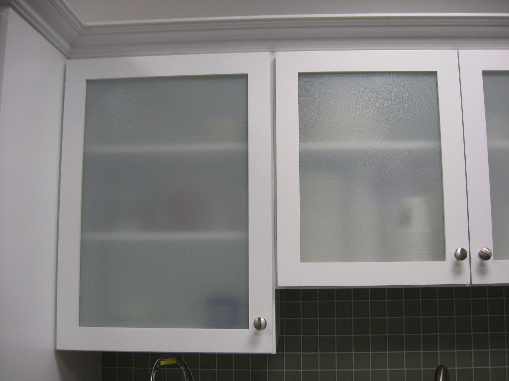 good Replacement Kitchen Cabinet Doors Glass Front #5: Modern Style Replace Kitchen Cabinet Door With Frosted Glass Cabinet Door  And White Wooden Framing Also