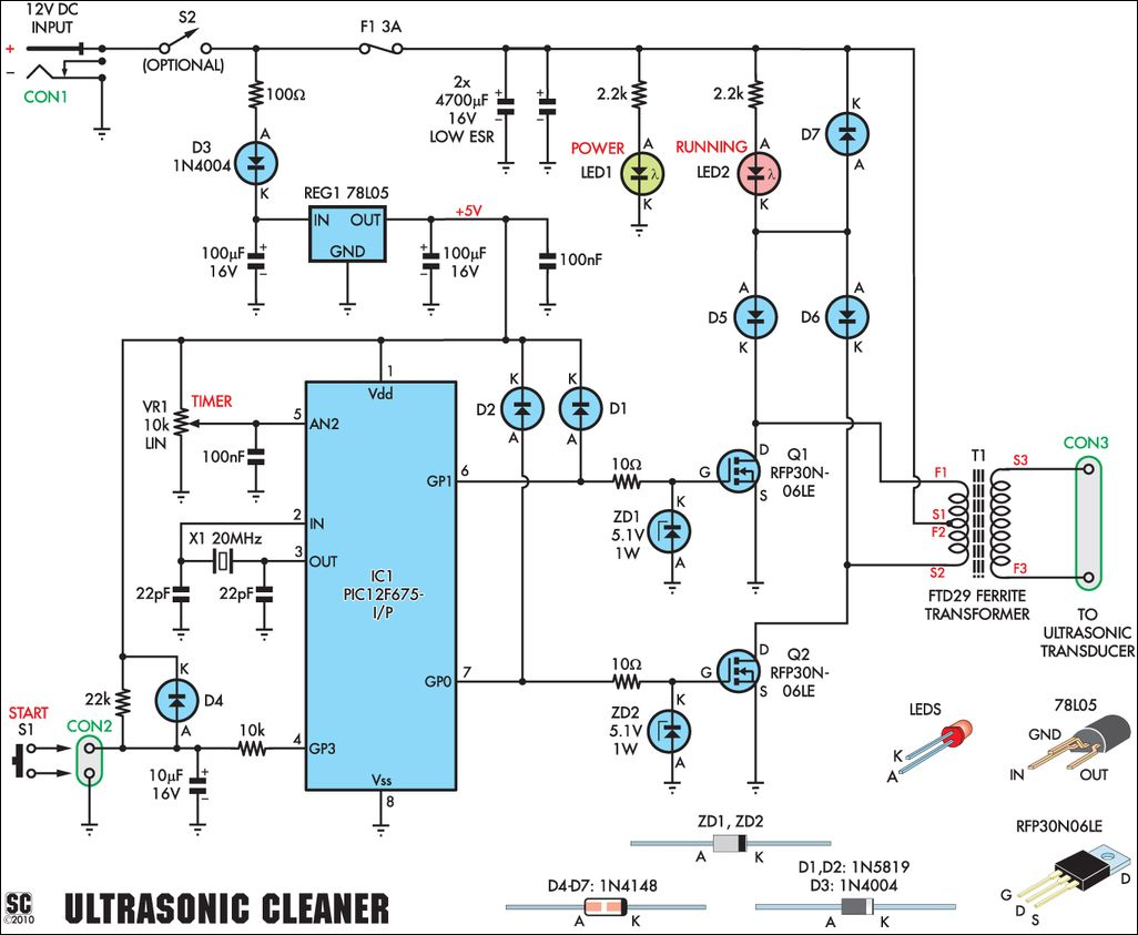 Ultrasonic Cleaning Schematic Electronics Pinterest Transistor Inverter Circuit 12v To 220v 100w