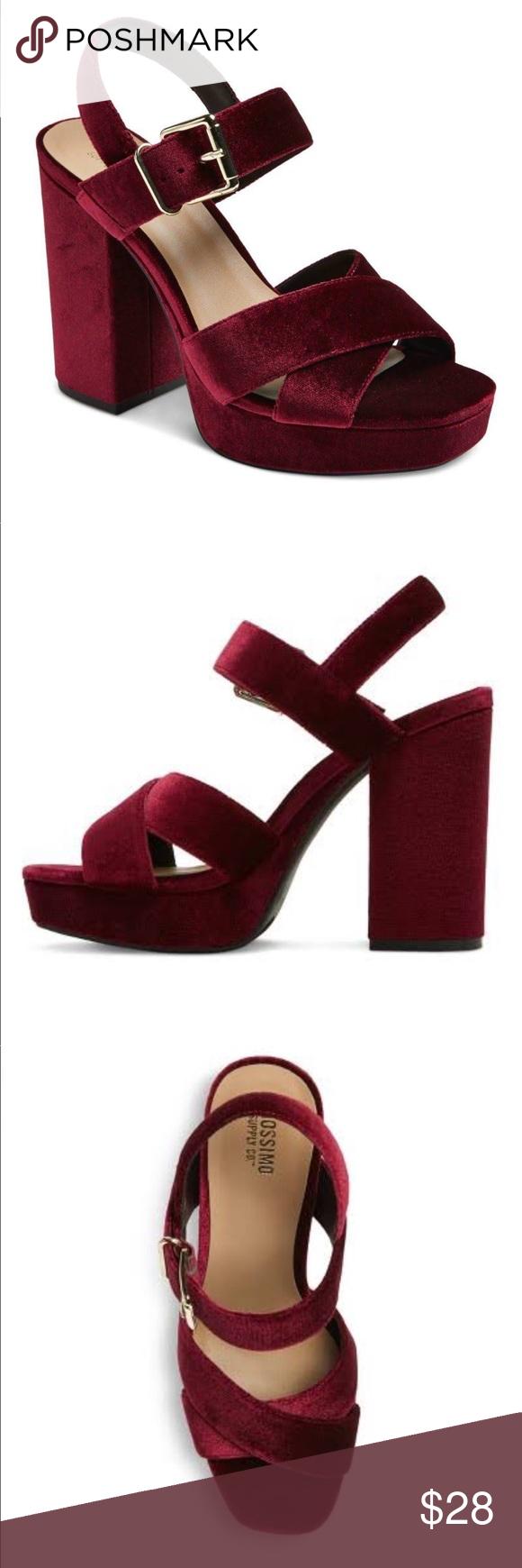 2c049d29f02 Mossimo Burgundy heels Alexandra burgundy velvet tall platform heel pumps.  Wide thick heel with ankle strap and an open toe. Criss-cross strap design.