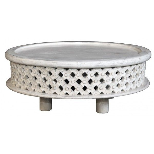 Round Bamileke Style Coffee Table White Washed 805 Liked On Polyvore Featuring Home Furniture Tables Accent