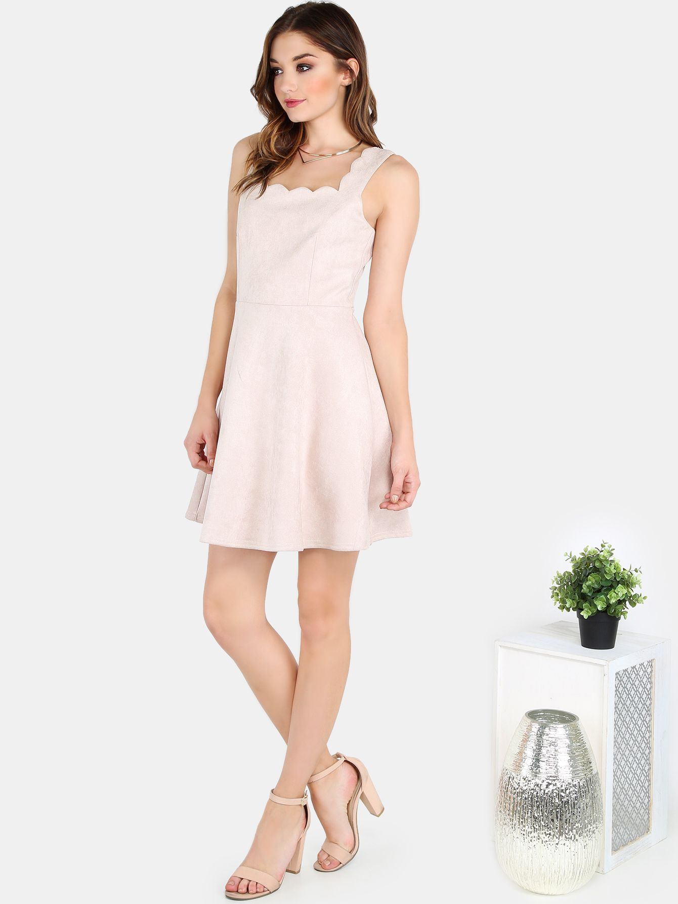 Shop Faux Suede Scallop Skater Dress TAUPE online. SheIn offers Faux Suede Scallop Skater Dress TAUPE & more to fit your fashionable needs.