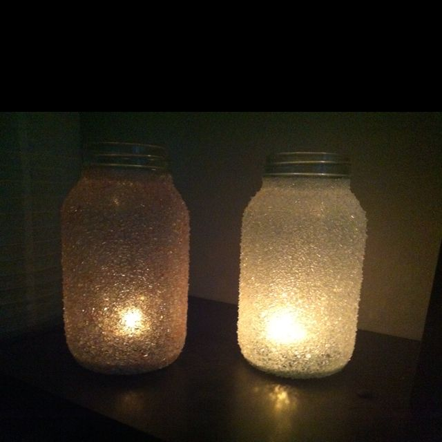 Epsom salt Christmas candle luminaries!  These are just two of the many that i made today. mason jars...hodge podge...Epsom salt...food coloring. Boom! So simple and so pretty.  Great for gifting on a budget.