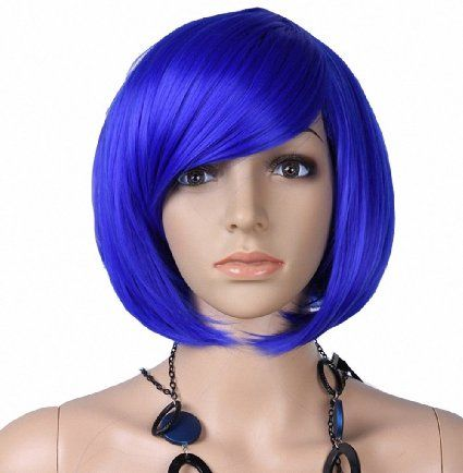 For Next Year S Coraline Costume Taobaopit Fashion Girl Natural Short Straight Wigs Diagonal Bangs Wigs Navy Blue Ladies Costume Wigs Halloween Wigs Wigs