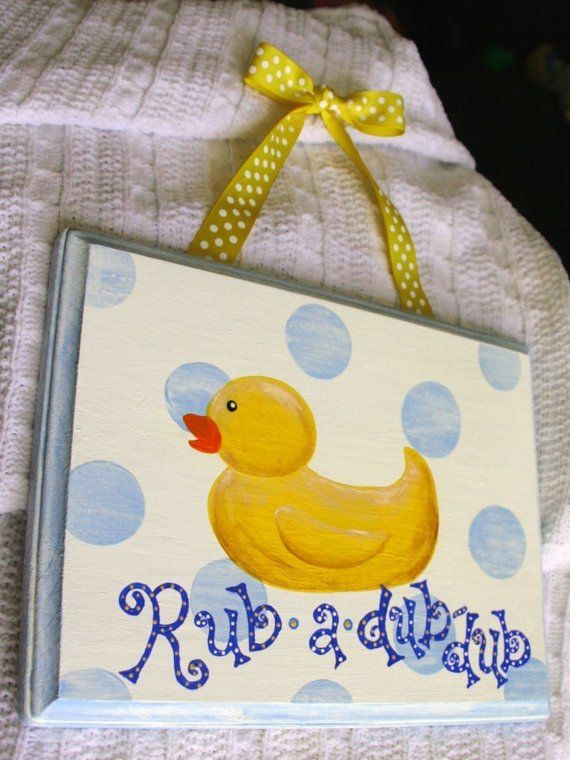 Baby Blue RUBBER DUCKY Duck Hanging Painting Bathroom | Ducky duck ...