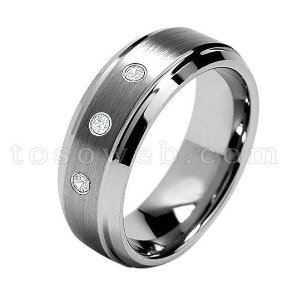 759cdae79c1b3 Men's White Diamond Wedding Band, April Birthstone Ring, 8mm Brushed ...
