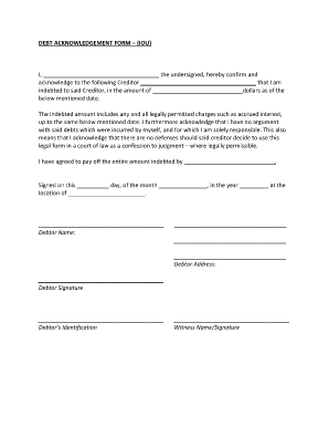 Fillable debt acknowledgement form iou i the for Iou letter template