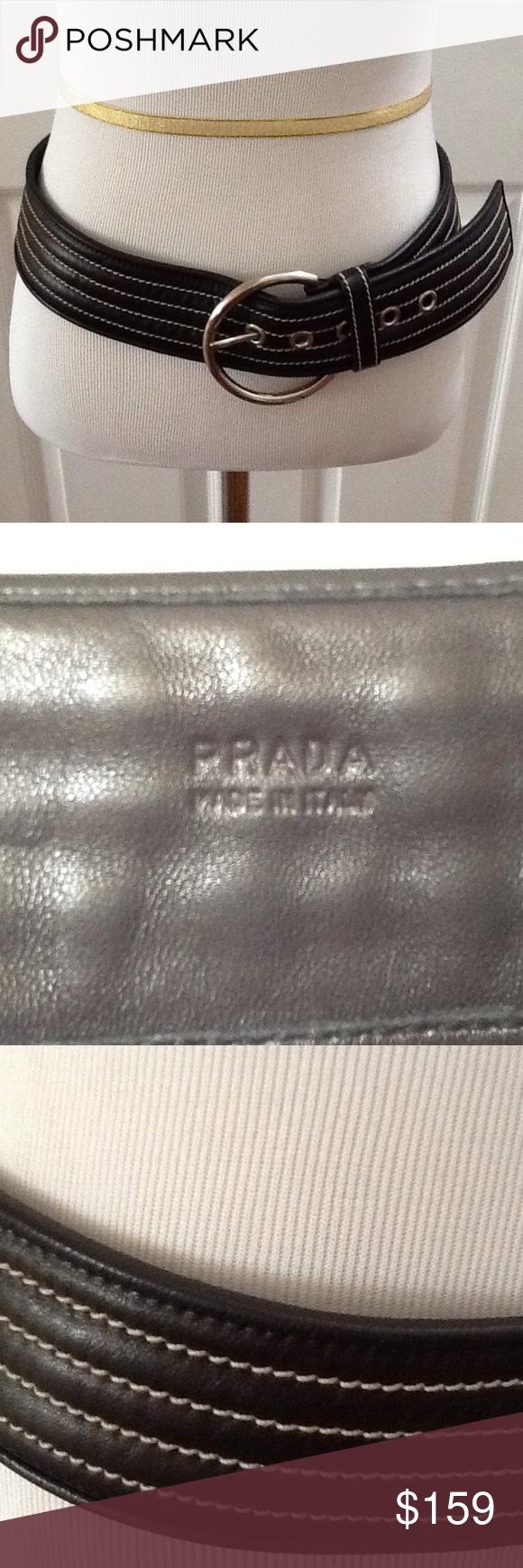 Prada Black Lamb Skin Leather Belt Prada Black Lamb Skin Leather Belt Prada Accessories Belts