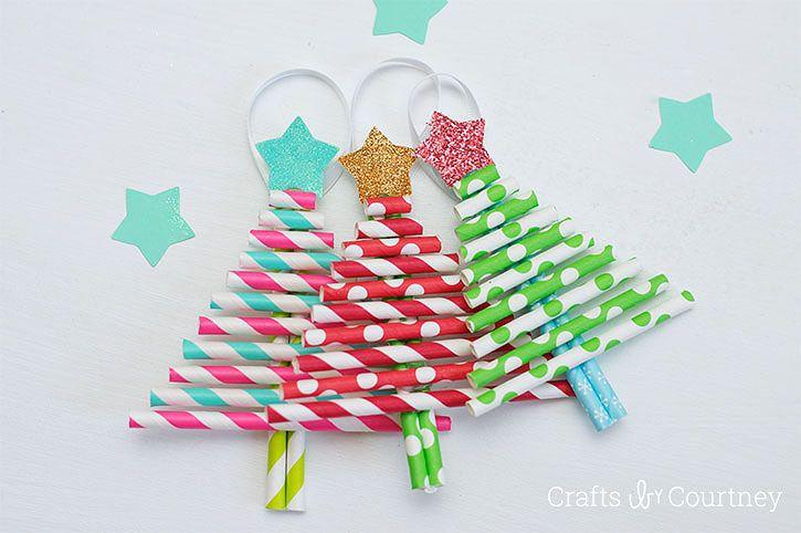 Kids Decorative Paper Straw Christmas Tree Ornaments Christmas Crafts Xmas Crafts Christmas Crafts For Kids