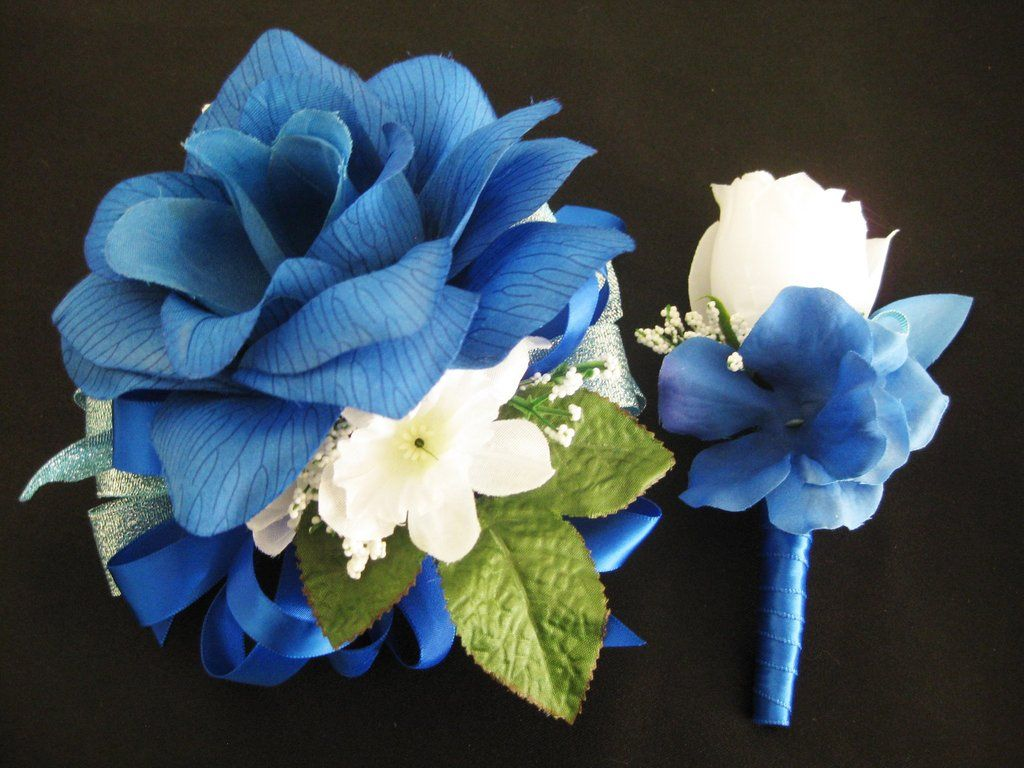 Wedding prom metallic baby blue and royal blue silk flower corsage wedding prom metallic baby blue and royal blue silk flower corsage and boutonniere set or 1 izmirmasajfo Gallery