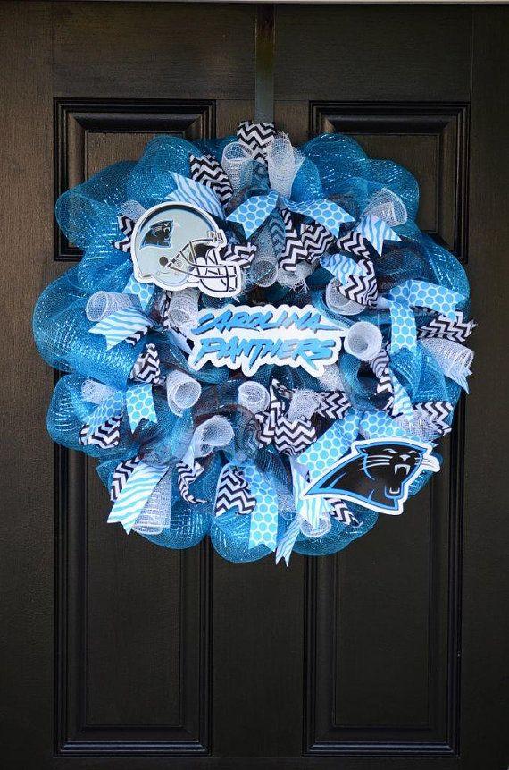 Carolina Panthers wreath Sports decor Panthers gifts Sports team wreath