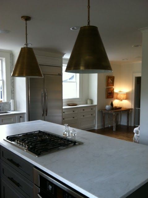Love the thomas obrien pendants kitchen with dark gray island and light cabinets blueprint bliss