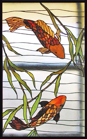 Stained glass koi fish art stained glass art pinterest for Stained glass fish patterns