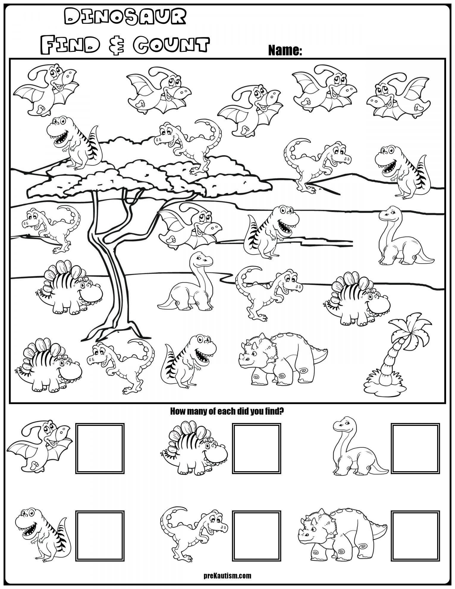 Dinosaurs Worksheet Kindergarten And Find Amp Count Dinosaur
