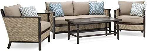 The La-Z-Boy Outdoor Colton 4-Piece Resin Wicker Patio Furniture Conversation Set Cast Shale Sunbrella Cushion (1 Patio Loveseat, 2 Lounge Chairs, Coffee Table) online shopping - Theeasytopbuy