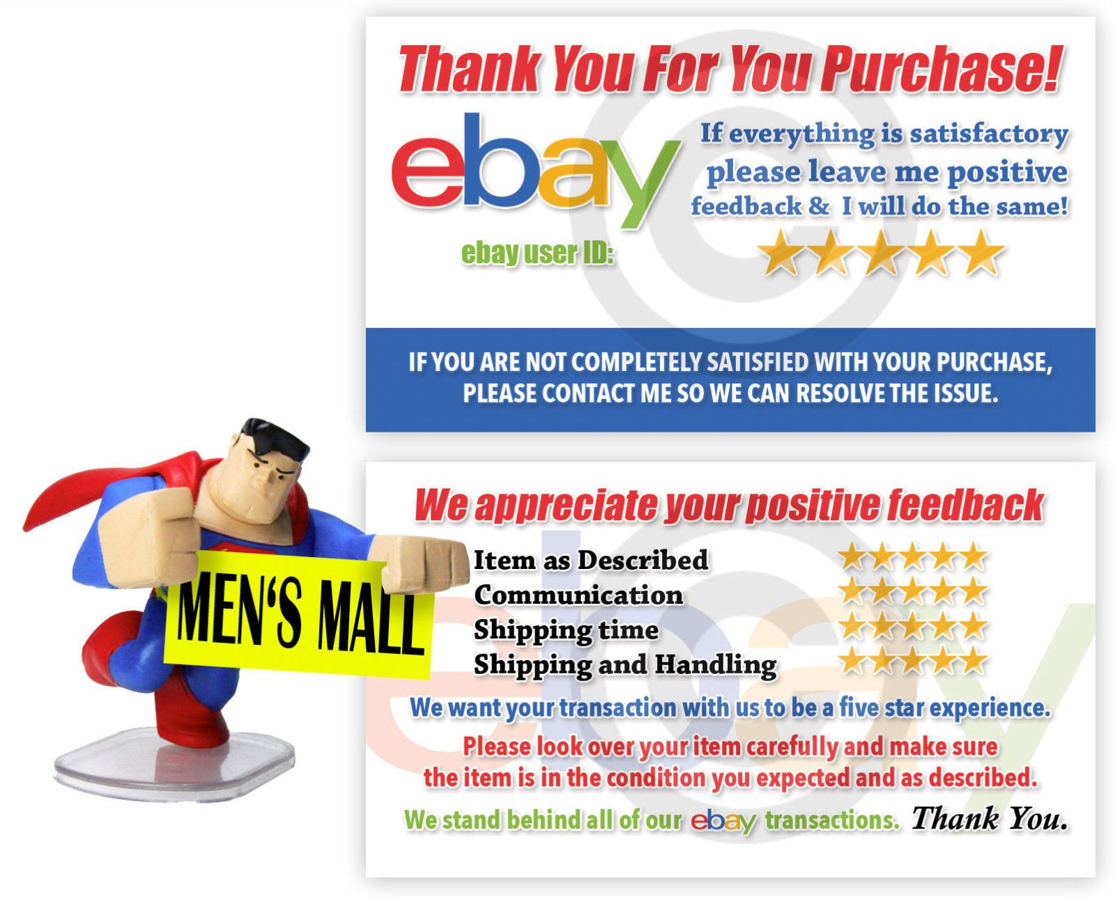 Thank You Business Cards for the Ebay Seller 100 Cards Free Shipping ...