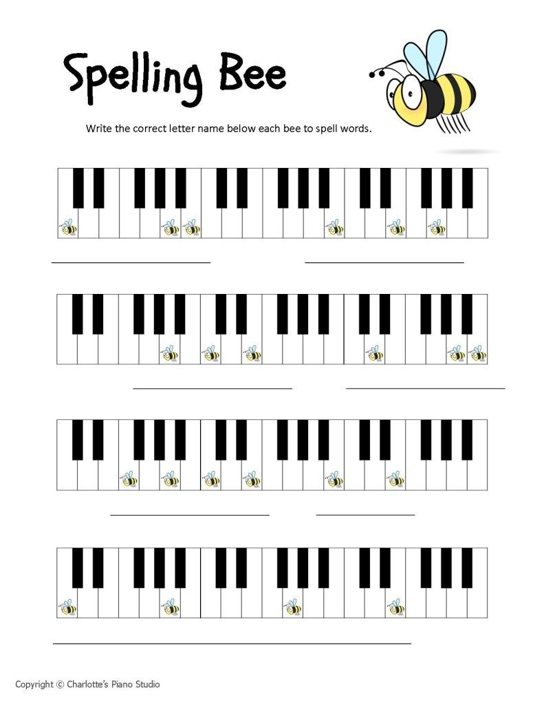 Worksheets Piano Worksheets who likes spelling bees here are three bee worksheets music worksheets
