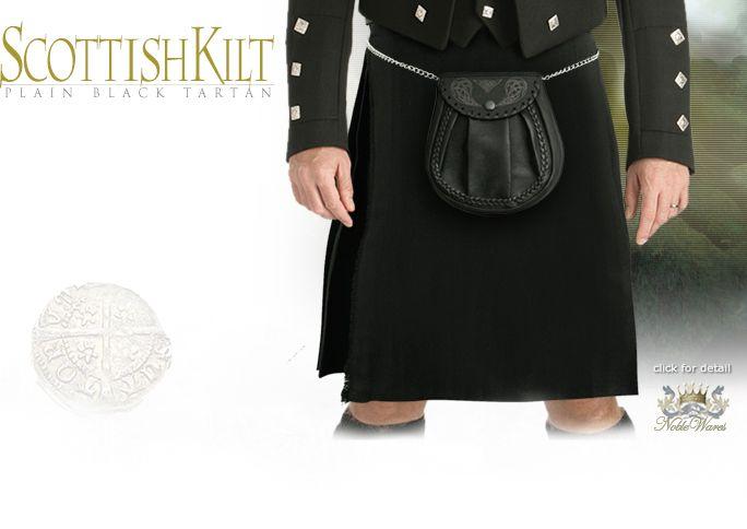 image of Plain Black Men's Tartan Kilt by SZCO