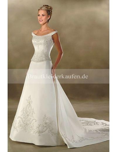 Neueste Princess-Stil U-Boot-Ausschnitt Empire Satin Hochzeitskleid ...