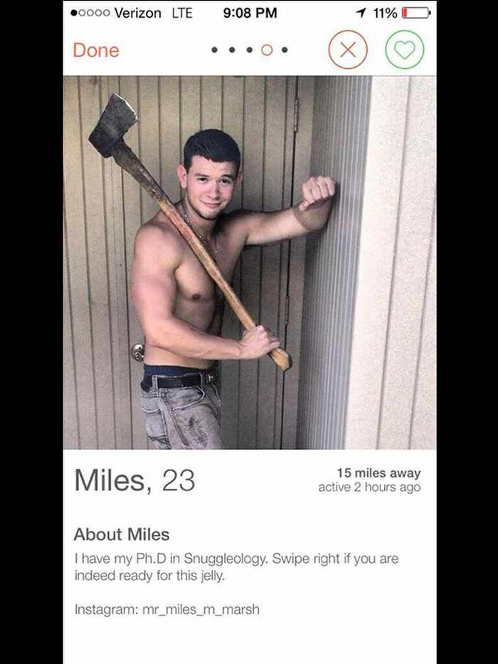 Tinder profile page