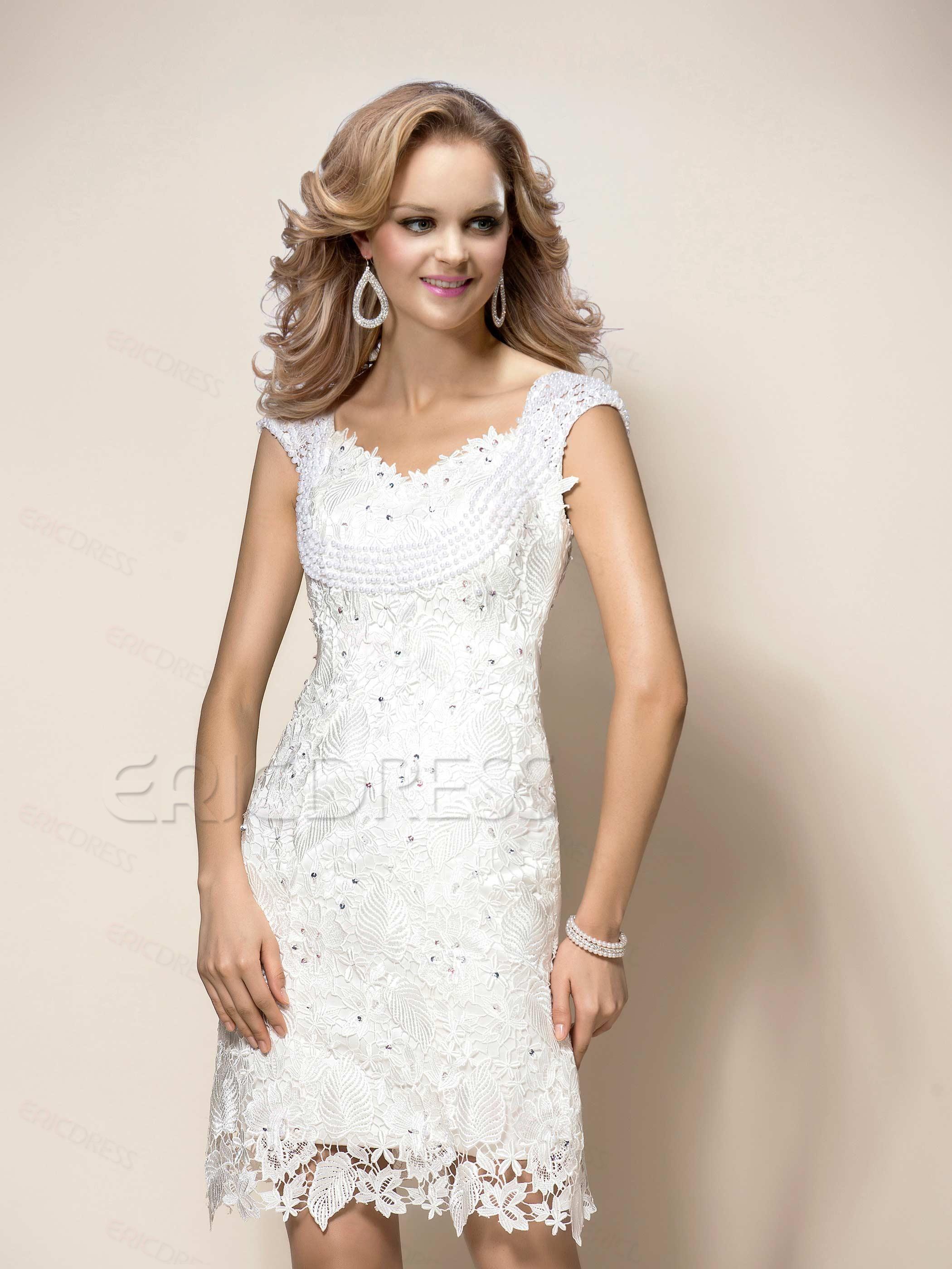 Graceful lace straps pearls beading shortmini cocktailevent dress