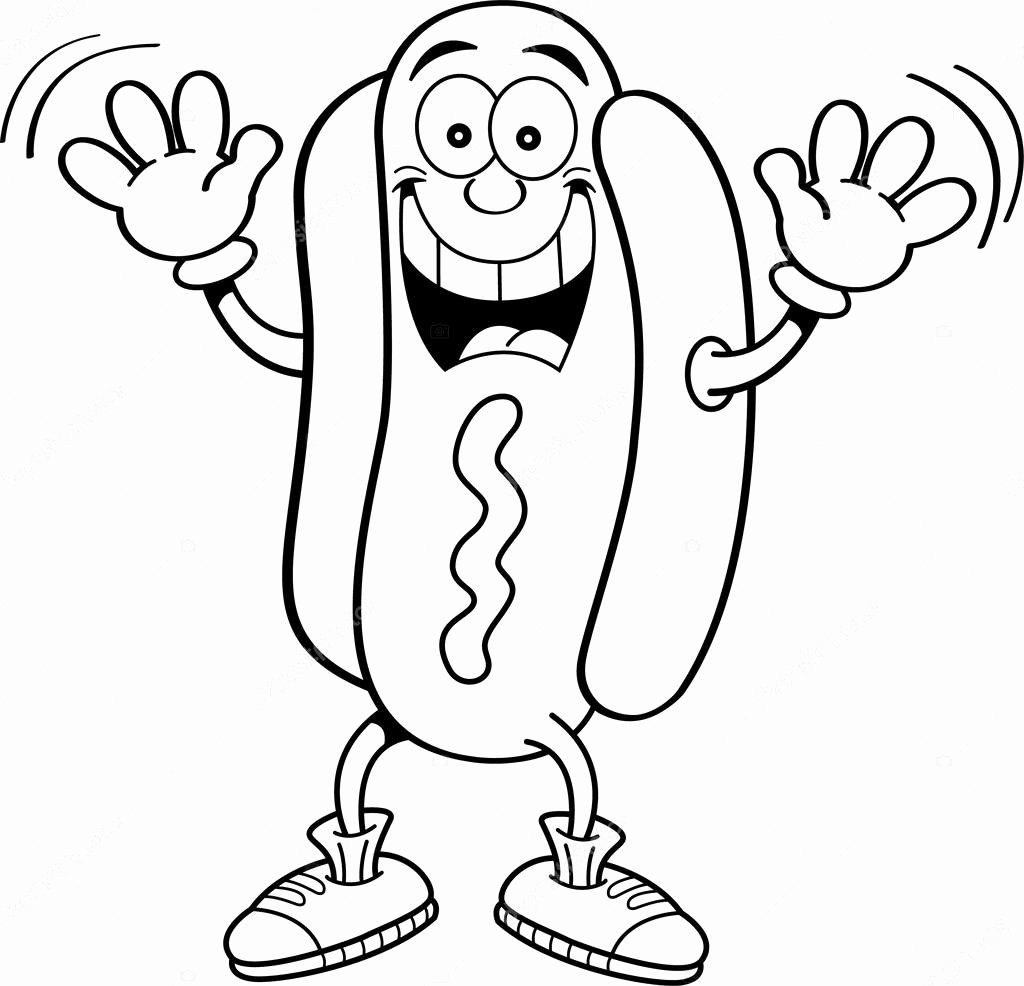 Hot Dog Coloring Page Lovely Hot Dog Raising Hands Black