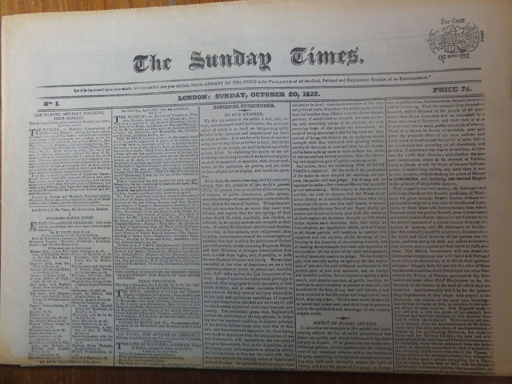 Great Newspapers Reprint The Sunday Times 1st First Ever issue 20 October  1822   Vintage newspaper, Newspapers, Book collection