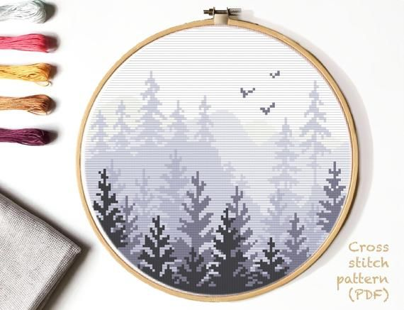 Photo of Landscape Modern Cross Stitch Pattern, forest counted cross stitch chart, mountains ,nature cross stitch, hoop art, embroidery, instant PDF