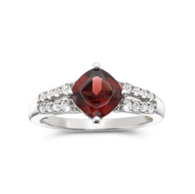 Genuine Garnet & Lab-Created White Sapphire Ring Sterling Silver found at @JCPenney