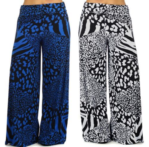 Regular /& Plus Size Printed Wide Leg Fold Over High Waist Palazzo Lounge Pants